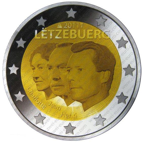 Pièce 2 euros à l'effigie de la famille Grand-Ducale